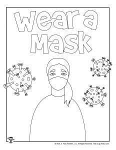 Classroom Coloring Page Wear a Mask