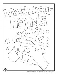 Student Coloring Page Wash Your Hands