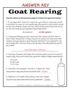 Goat Rearing Worksheet - Answer Key