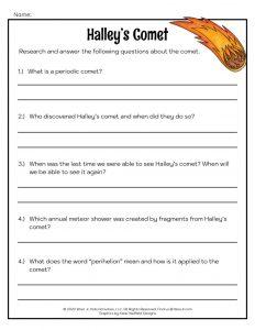 Halley's Comet Lesson Worksheet