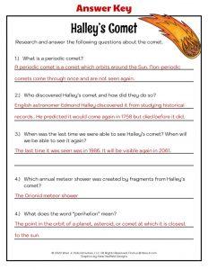 Halley's Comet Worksheet - KEY
