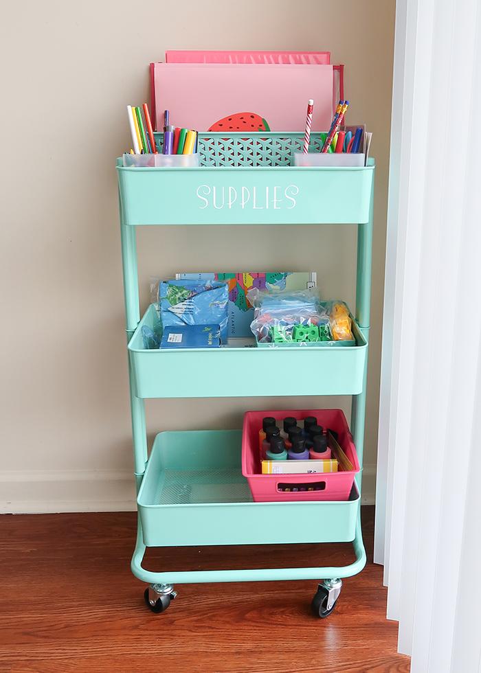 Homeschool Supply Cart Setup