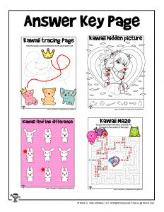 Kawaii Activity Pages for Kids - ANSWER KEY