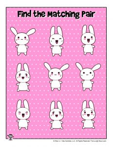 Kawaii Find Matching Pair Printable