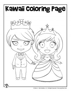 Kawaii King and Queen Coloring Page