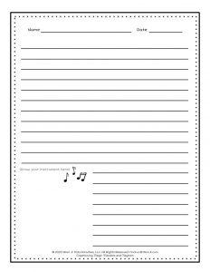 Musical Instruments Writing Worksheet