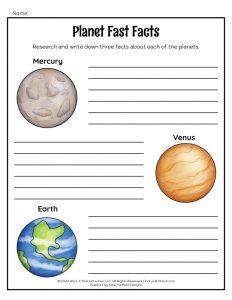 Planets Worksheet Solar System Lesson for Kids