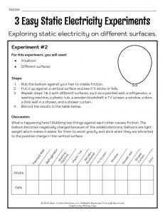 Static Electricity Experiment Activity Worksheet