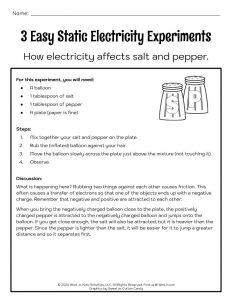 Static Electricity Experiments Printable