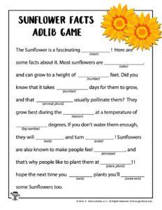 Sunflower Ad Lib Printable Game for Kids
