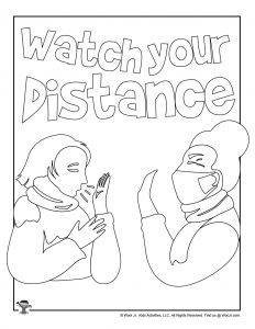 Watch Your Distance Coloring Page for Kids