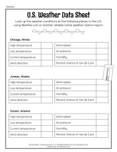 US Weather Data Lesson Worksheet