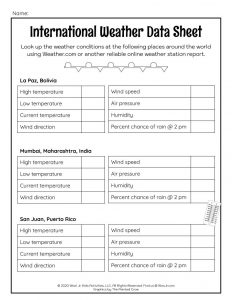 International Weather Pattern Activity Worksheet for Kids