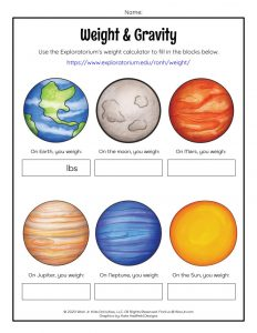 Weight & Gravity Worksheet for Kids
