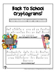 Cryptogram Decoding Puzzle for Kids
