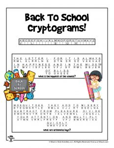 Back to School Cryptogram Code Puzzle for Kids -KEY