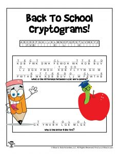 Printable Back to School Cryptogram Puzzle