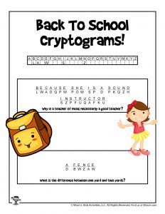 Cryptogram Code Puzzle for Kids