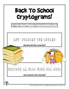 Back to School Cryptograms for Kids - KEY