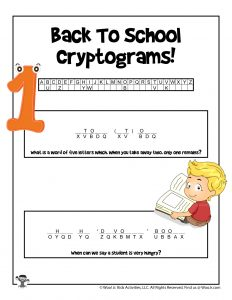 Kids Back to School Word Puzzles
