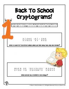 Back to School Word Puzzle - KEY