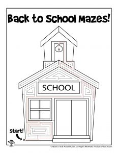Back to School Easy Maze for Kids - KEY