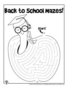 Teacher Apple Maze Puzzle Activity