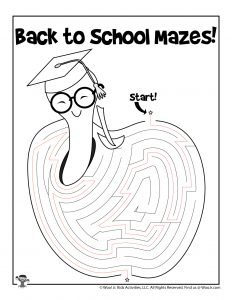 Apple for Teacher Printable Maze - KEY