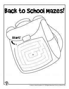 School Backpack Printable Maze for Kids