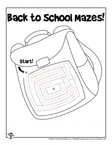 Backpack Maze Worksheet - KEY