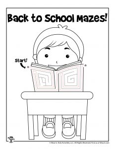 Student in Classroom Coloring Page - KEY