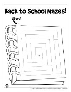 Back to School Notebook Maze for Kids
