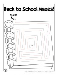 Back to School Maze Worksheet - ANSWER KEY