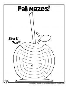 Autumn Candy Apple Printable Maze for Kids