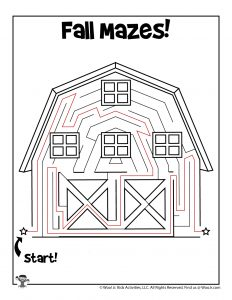 Barn Maze Puzzle Page for Kids - KEY