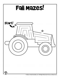 Harvest Tractor Maze Kids Activity Page