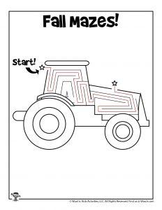 Tractor Fall Labyrinth Maze - ANSWER KEY