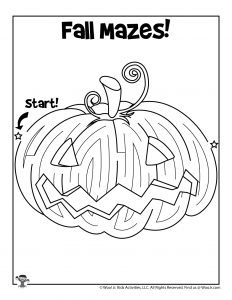 Fall Pumpkin Carving Maze to Print