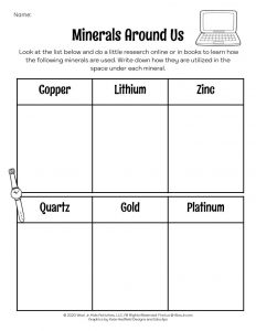 Minerals in Our Daily Life Worksheet