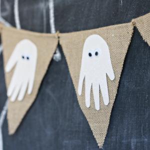 Halloween Ghost Handprint Banner by See Vanessa Craft