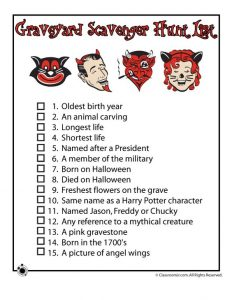 Halloween Graveyard Scavenger Hunt List