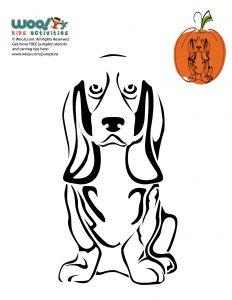 Bassett Hound Dog Breeds Pumpkin Carving Stencils