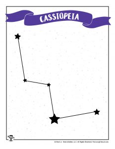 Cassiopeia Star Chart Printable for Kids