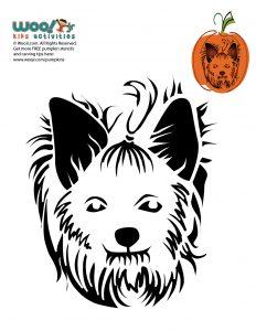 Cute Yorkie Dog Pumpkin Stencils