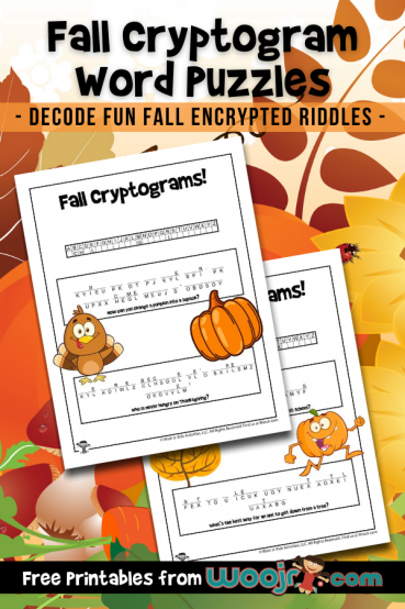 Fall Cryptogram Word Puzzles