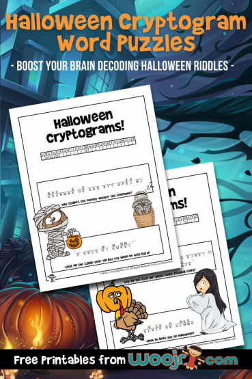 Halloween Cryptogram Word Puzzles