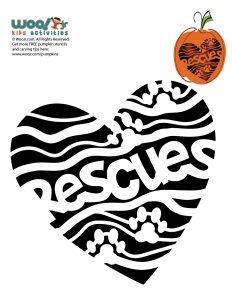 I Heart Rescues Pumpkin Stencil