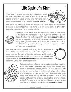 Star Life Cycle Reading Passage