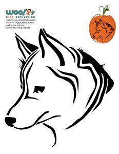 Siberian Husky Printable Free Pumpkin Stencil