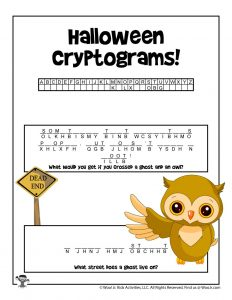 Halloween Cryptogram Puzzle Game